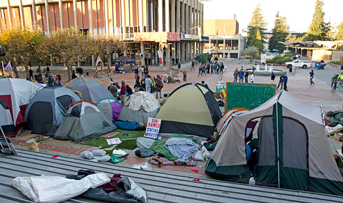 Tents in front of Sproul Hall