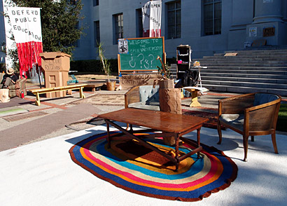 Furniture in front of Sproul Hall