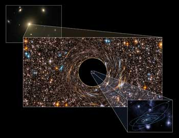 An artist's concept of the immense black hole discovered in the galaxy NGC 3842.