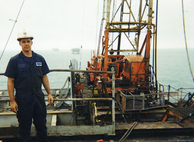 Thomas Azwell on offshore oil platform