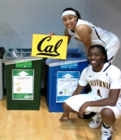 Student athletes with recycling bins at Haas Pavilion
