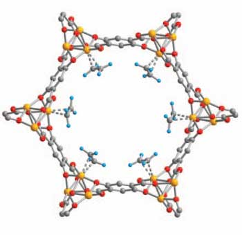 Iron-based metal-organic frameworks trap saturated hydrocarbons like ethylene.