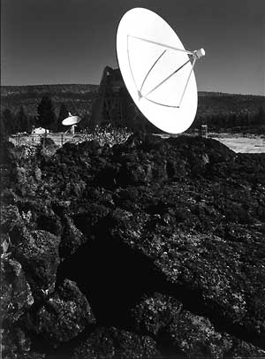 Ansel Adams photo of 85-foot radio dish.