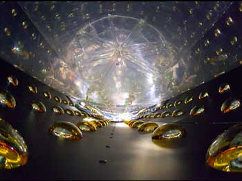 A photo of the inside of the cylindrical detector, before it was filled with clear liquid scintillator.