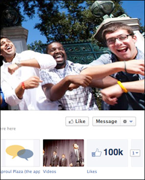 "detail of Facebook page's 100K ""likes"""