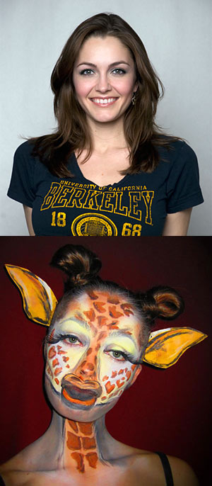 Chrystal Redekopp as herself (top) and as a giraffe