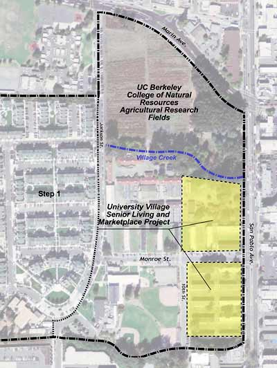 Aerial view of Gill Tract and University Village master plan area