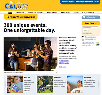 Cal Day website home page