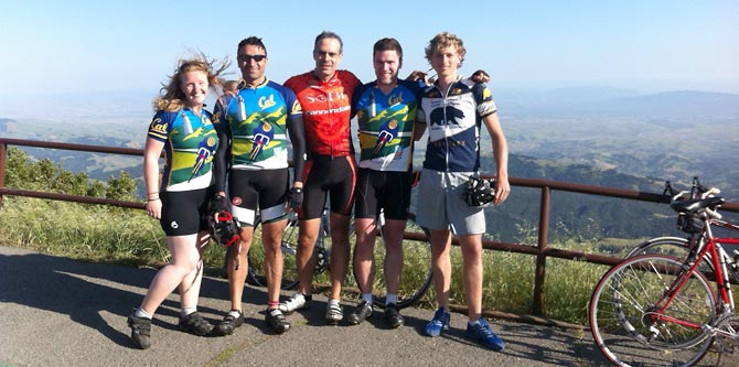Cal Team members on a training ride