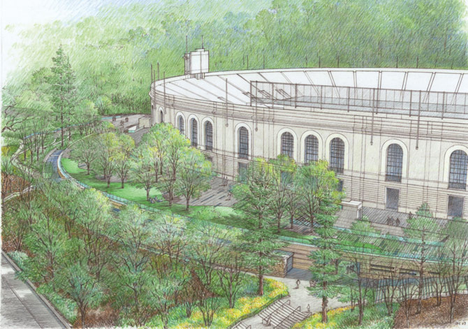 A rendering of the Lisa and Douglas Goldman Plaza at Memorial Stadium