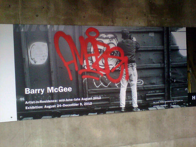 Barry McGee tag on BAM doors