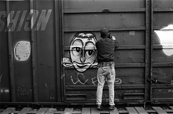 Barry McGee taking a freight container