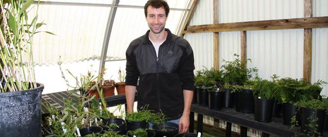 Jeff Benca in greenhouse