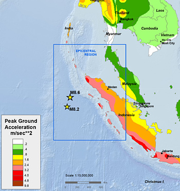 Map of the area near the East Indian Ocean quake.
