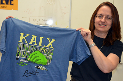 Sandra Wesson and the 2012 KALX T-shirt