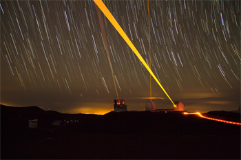 Lasers used by telescopes atop Mauna Kea in Hawaii.