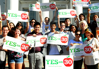 student rally for prop 30