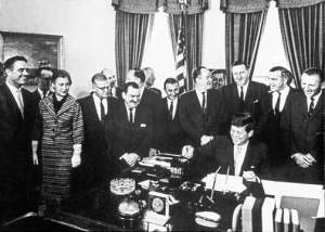 President Kennedy with members of Congress and staff, 1961
