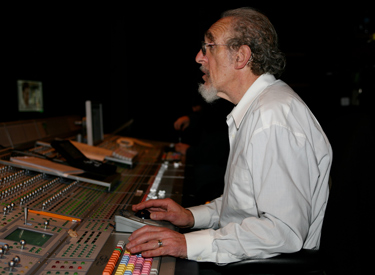 Berger at sound board