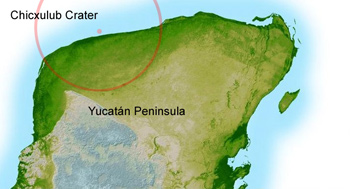 Diagram of Yucatan peninsula and Chicxulub impact crater.