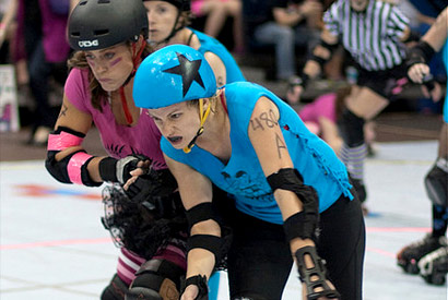 Erin Fenley in roller derby bout