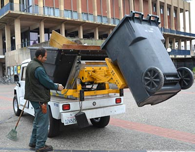 lift emptying trash into truck hopper