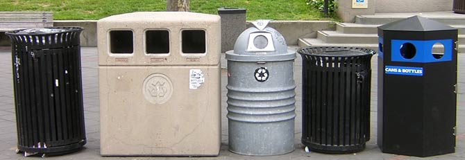 row of different bins on Sproul