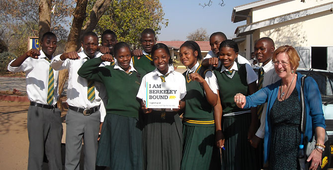 Admission officer Lin Larson with students at Mpopoma High School, Zimbabwe